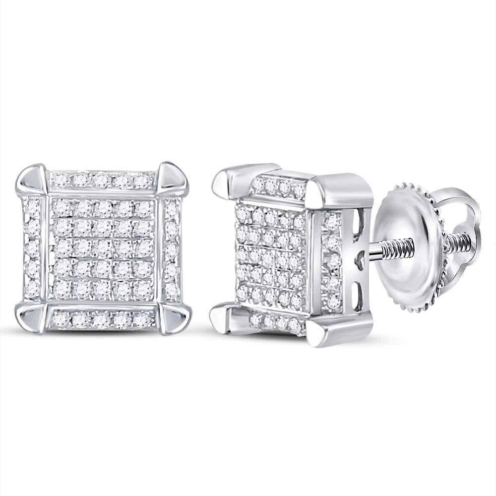 GND Men's Diamond Earrings 10kt White Gold Mens Round Diamond Square Cluster Stud Earrings 1/6 Cttw