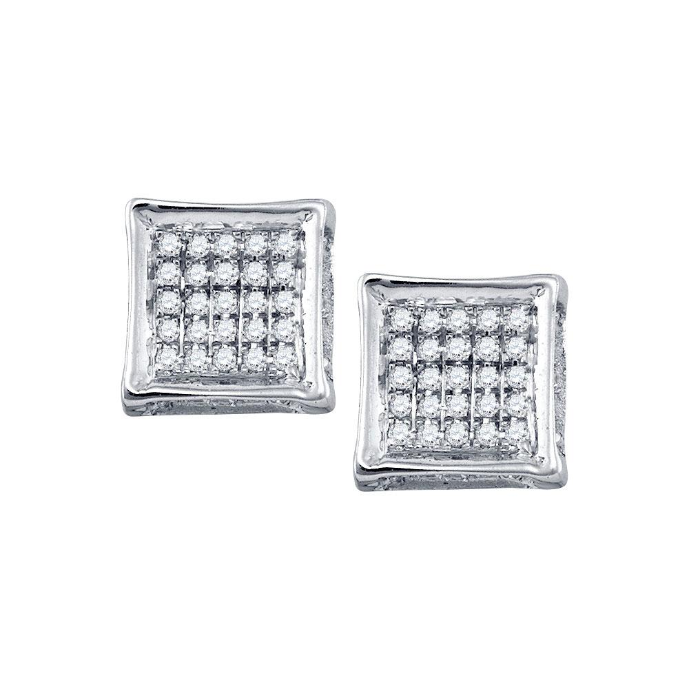 GND Men's Diamond Earrings 10kt White Gold Mens Round Diamond Square Earrings 1/8 Cttw