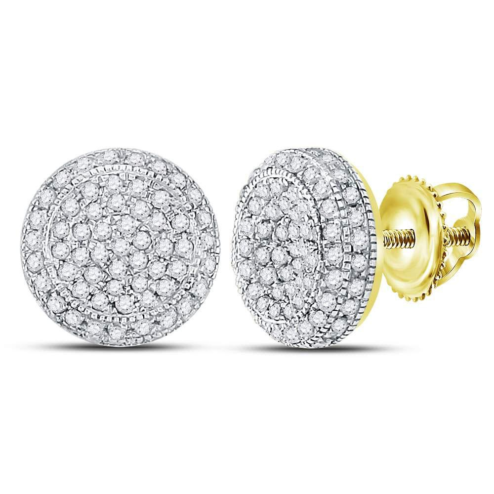 GND Men's Diamond Earrings 10kt Yellow Gold Mens Round Diamond Circle Cluster Earrings 5/8 Cttw