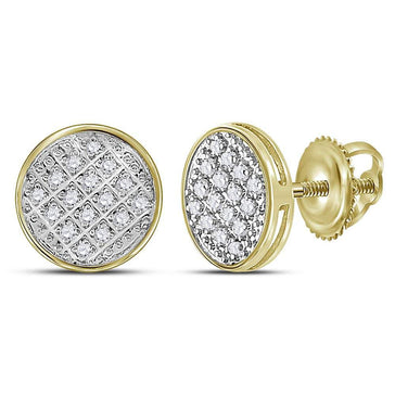 GND Men's Diamond Earrings 10kt Yellow Gold Mens Round Diamond Circle Cluster Stud Earrings 1/12 Cttw