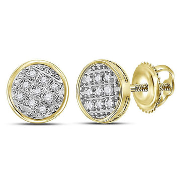GND Men's Diamond Earrings 10kt Yellow Gold Mens Round Diamond Circle Cluster Stud Earrings 1/20 Cttw