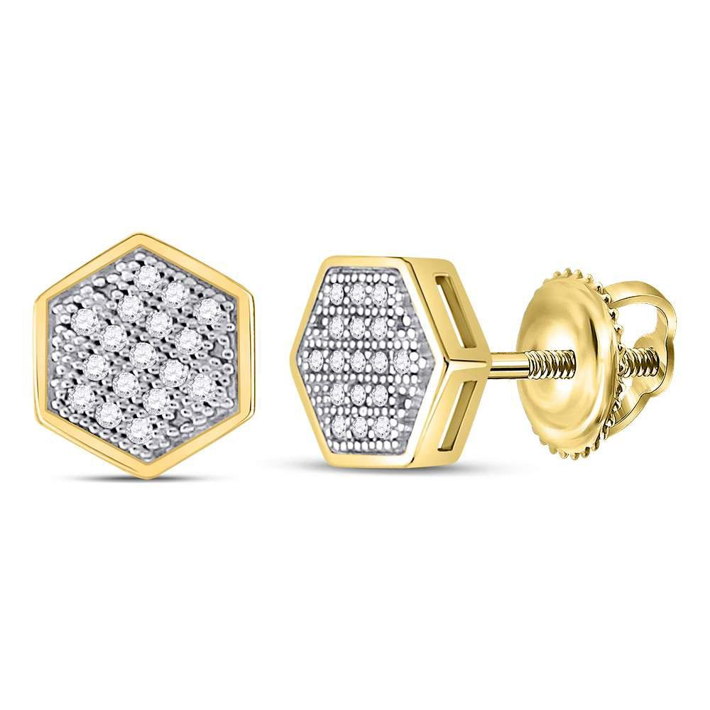 GND Men's Diamond Earrings 10kt Yellow Gold Mens Round Diamond Hexagon Earrings 1/10 Cttw