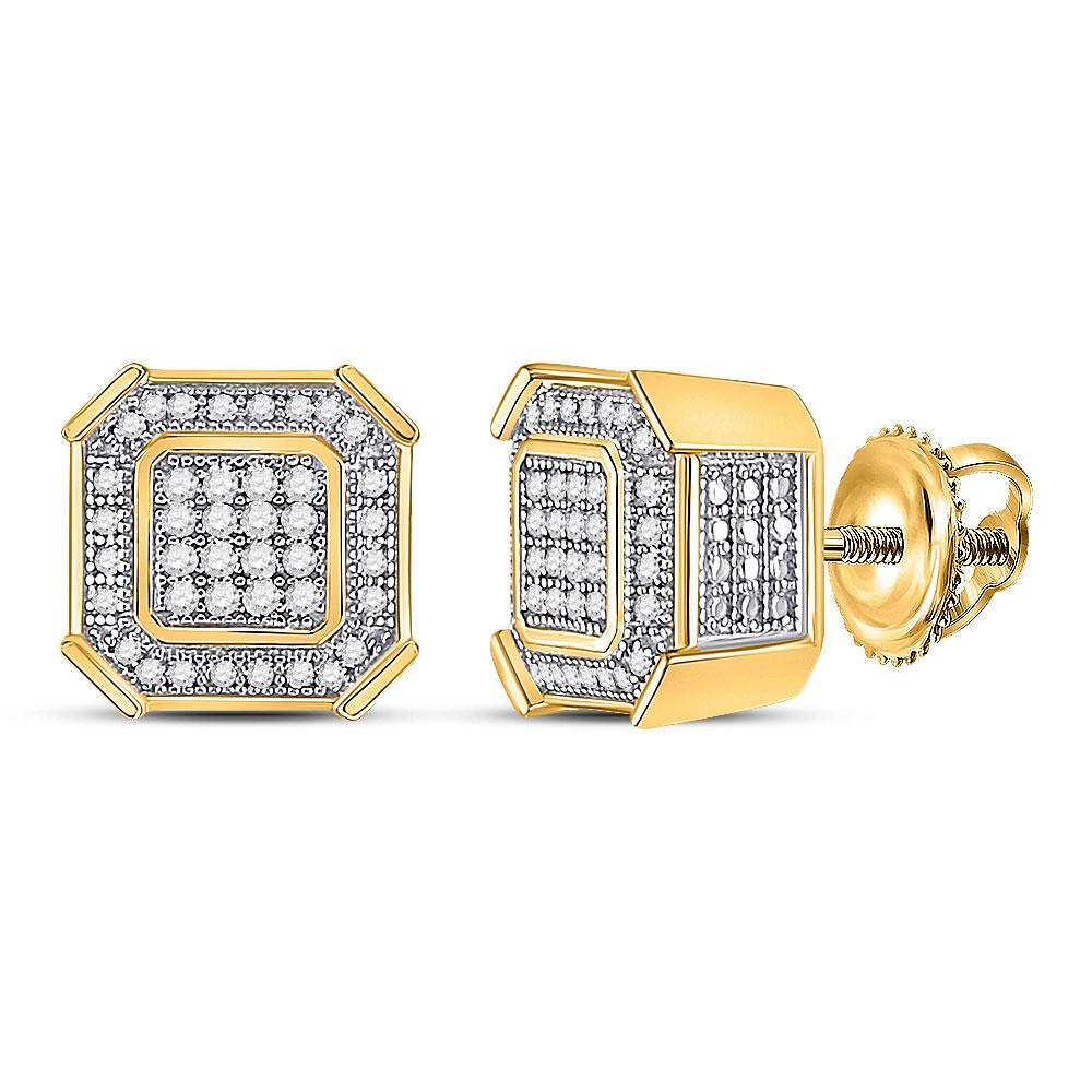 GND Men's Diamond Earrings 10kt Yellow Gold Mens Round Diamond Square Cluster Earrings 1/4 Cttw
