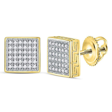GND Men's Diamond Earrings 10kt Yellow Gold Mens Round Diamond Square Cluster Stud Earrings Cttw