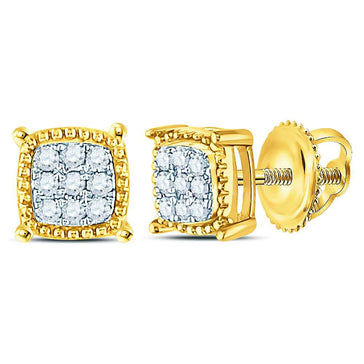 GND Men's Diamond Earrings 10kt Yellow Gold Mens Round Diamond Square Milgrain Cluster Earrings 1/10 Cttw