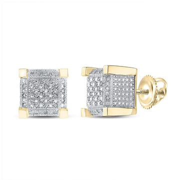 GND Men's Diamond Earrings Yellow-tone Sterling Silver Mens Round Diamond 3D Cube Square Earrings 1/5 Cttw