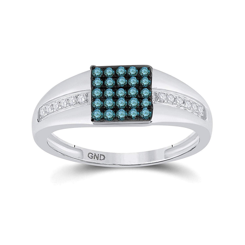 GND Men's Diamond Fashion Ring 10kt White Gold Mens Round Blue Color Enhanced Diamond Square Cluster Ring 1/2 Cttw