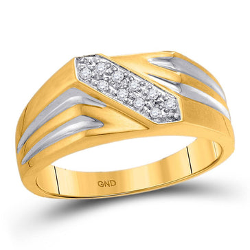 GND Men's Diamond Fashion Ring 10kt Yellow Gold Mens Round Diamond Band Ring 1/10 Cttw