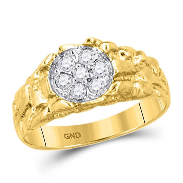 GND Men's Diamond Fashion Ring 10kt Yellow Gold Mens Round Diamond Cluster Nugget Band Ring 1/4 Cttw