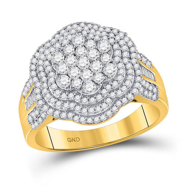 GND Men's Diamond Fashion Ring 10kt Yellow Gold Mens Round Diamond Large Cluster Band Ring 1-1/2 Cttw
