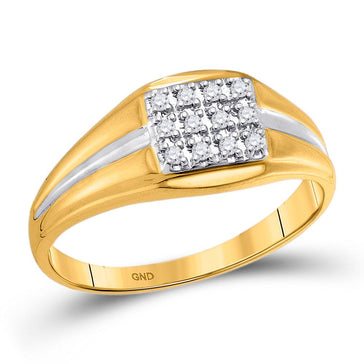 GND Men's Diamond Fashion Ring 10kt Yellow Gold Mens Round Diamond Square Cluster Ring 1/8 Cttw