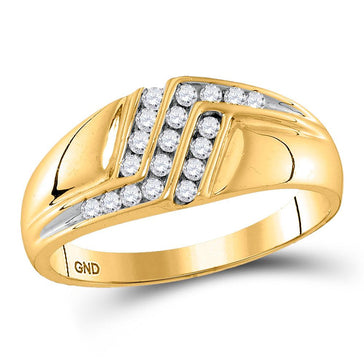 GND Men's Diamond Fashion Ring 10kt Yellow Gold Mens Round Diamond Triple Row Polished Band Ring 1/4 Cttw