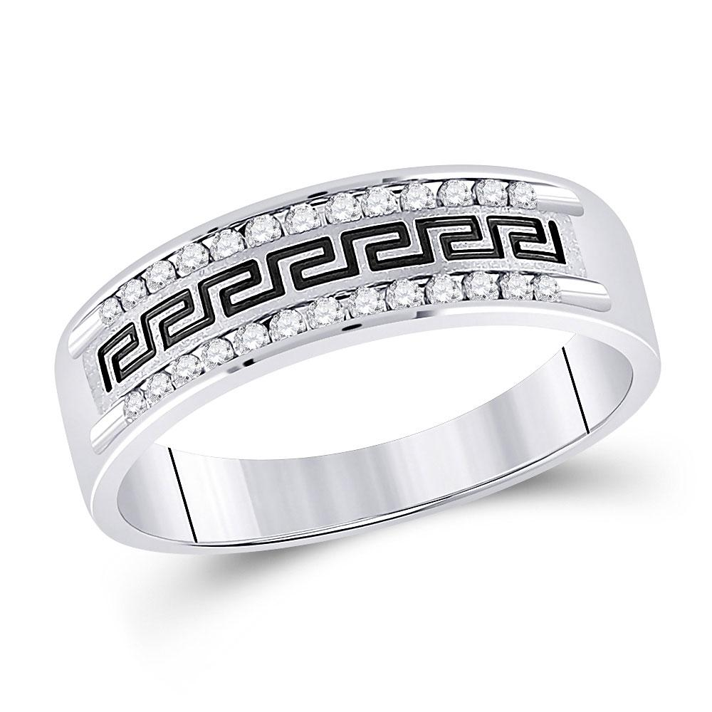 GND Men's Wedding Band 10 14kt White Gold Mens Round Diamond Grecco Wedding Band Ring 1/4 Cttw