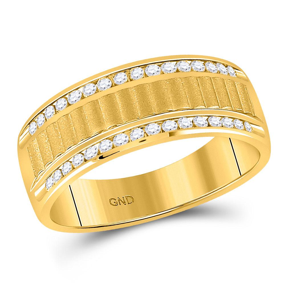GND Men's Wedding Band 10 14kt Yellow Gold Mens Round Diamond Double Row Matte Textured Wedding Band Ring 1/3 Cttw