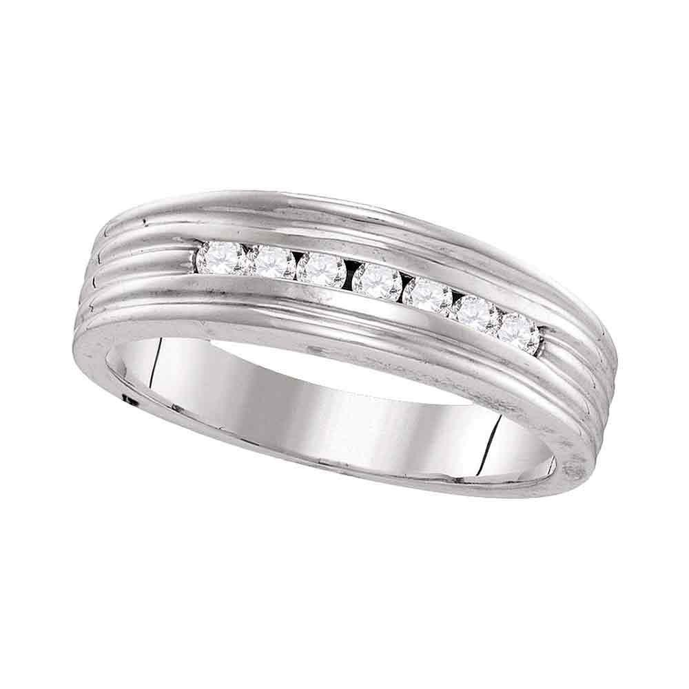 GND Men's Wedding Band 10kt White Gold Mens Round Diamond Ribbed Wedding Band Ring 1/4 Cttw