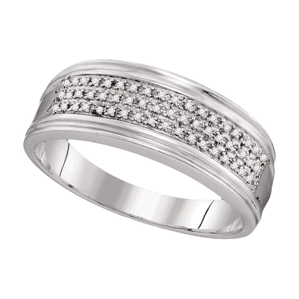 GND Men's Wedding Band 10kt White Gold Mens Round Diamond Triple Row Wedding Anniversary Band Ring 1/10 Cttw