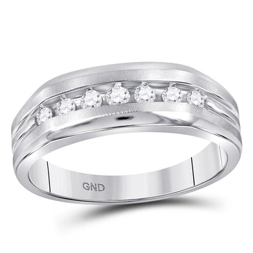GND Men's Wedding Band 10kt White Gold Mens Round Diamond Wedding Single Row Band Ring 1/4 Cttw