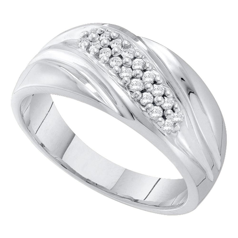 GND Men's Wedding Band 10kt White Gold Mens Round Pave-set Diamond Diagonal Double Row Wedding Band 1/4 Cttw