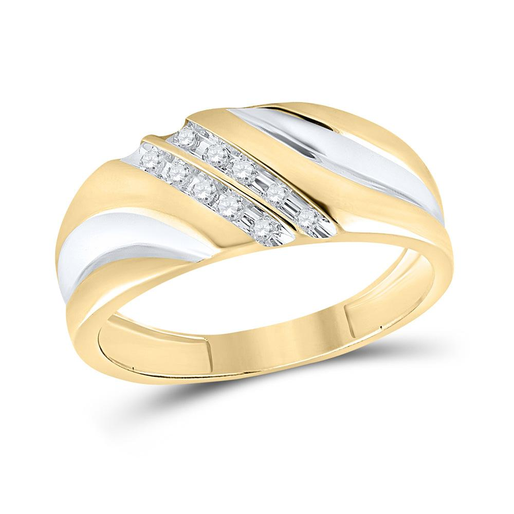 GND Men's Wedding Band 10kt Yellow Gold Mens Round Diamond 2-tone Wedding Anniversary Band Ring 1/8 Cttw