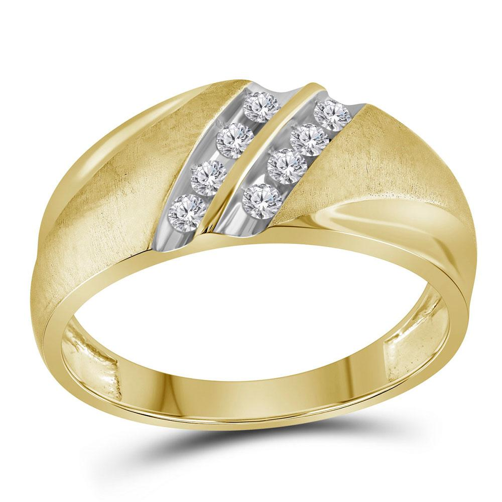 GND Men's Wedding Band 10kt Yellow Gold Mens Round Diamond Wedding Double Row Band Ring 1/4 Cttw