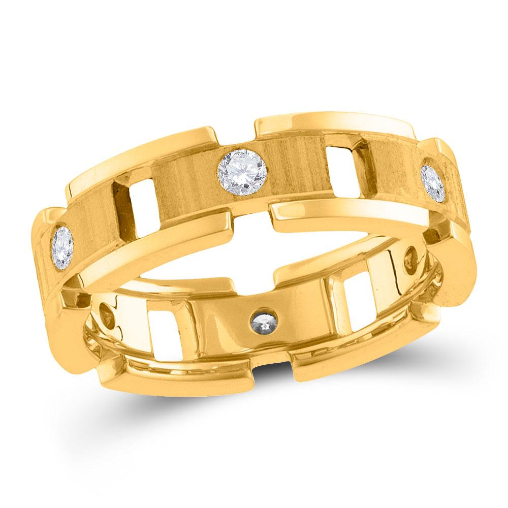 GND Men's Wedding Band 14kt Yellow Gold Mens Round Diamond Link Chain Wedding Band Ring 1/2 Cttw