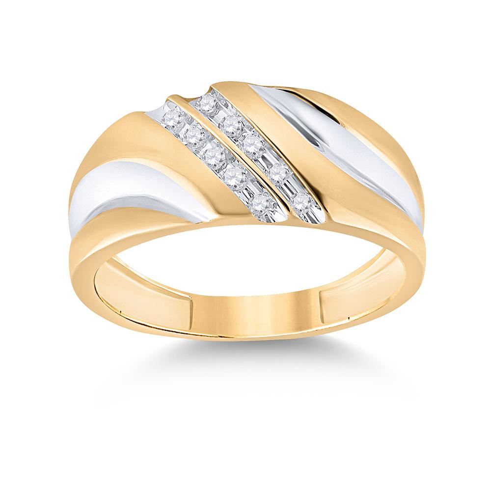 GND Men's Wedding Band 14kt Yellow Gold Mens Round Diamond Wedding Band Ring 1/8 Cttw