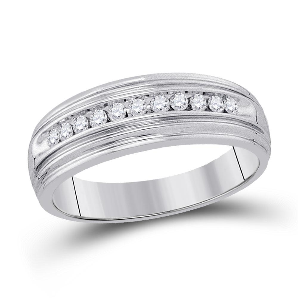 GND Men's Wedding Band Sterling Silver Mens Round Diamond Wedding Band Ring 1/4 Cttw