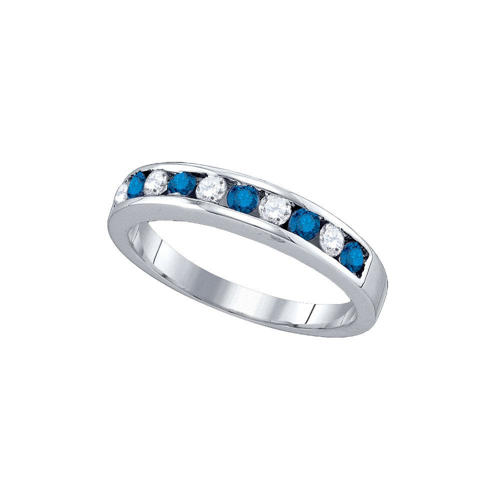 GND Women's Wedding Band 10kt White Gold Womens Round Blue Color Enhanced Diamond Band Ring 1/2 Cttw