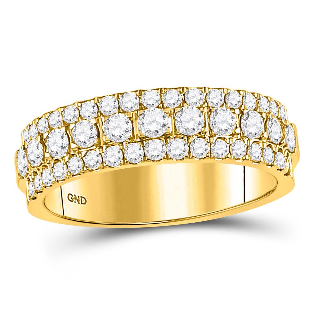 GND Women's Wedding Band 10kt Yellow Gold Womens Round Diamond Triple Row Comfort Wedding Band 1 Cttw