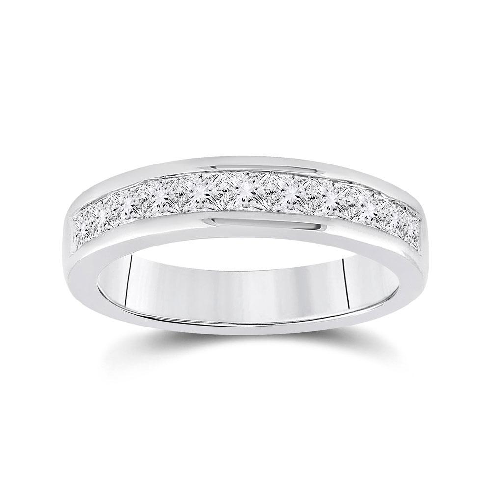 GND Women's Wedding Band 14kt White Gold Womens Princess Channel-set Diamond Single Row Wedding Band 1 Cttw