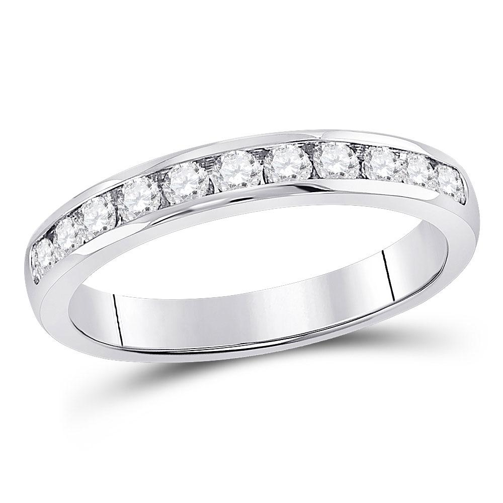 GND Women's Wedding Band 14kt White Gold Womens Round Diamond Single Row Channel-set Wedding Band 1/2 Cttw