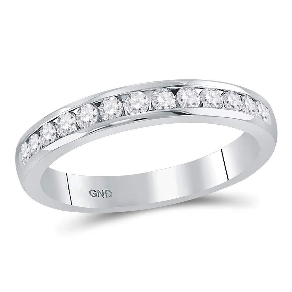 GND Women's Wedding Band 14kt White Gold Womens Round Diamond Single Row Channel-set Wedding Band 1/3 Cttw