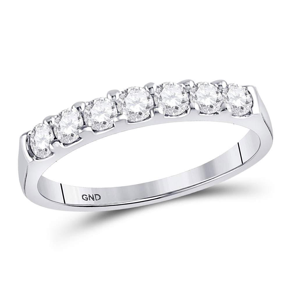 GND Women's Wedding Band 14kt White Gold Womens Round Diamond Single Row Wedding Band 1/2 Cttw
