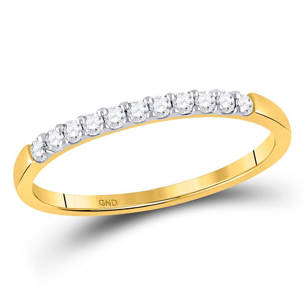 GND Women's Wedding Band 14kt Yellow Gold Womens Round Diamond Wedding Band Ring 1/6 Cttw