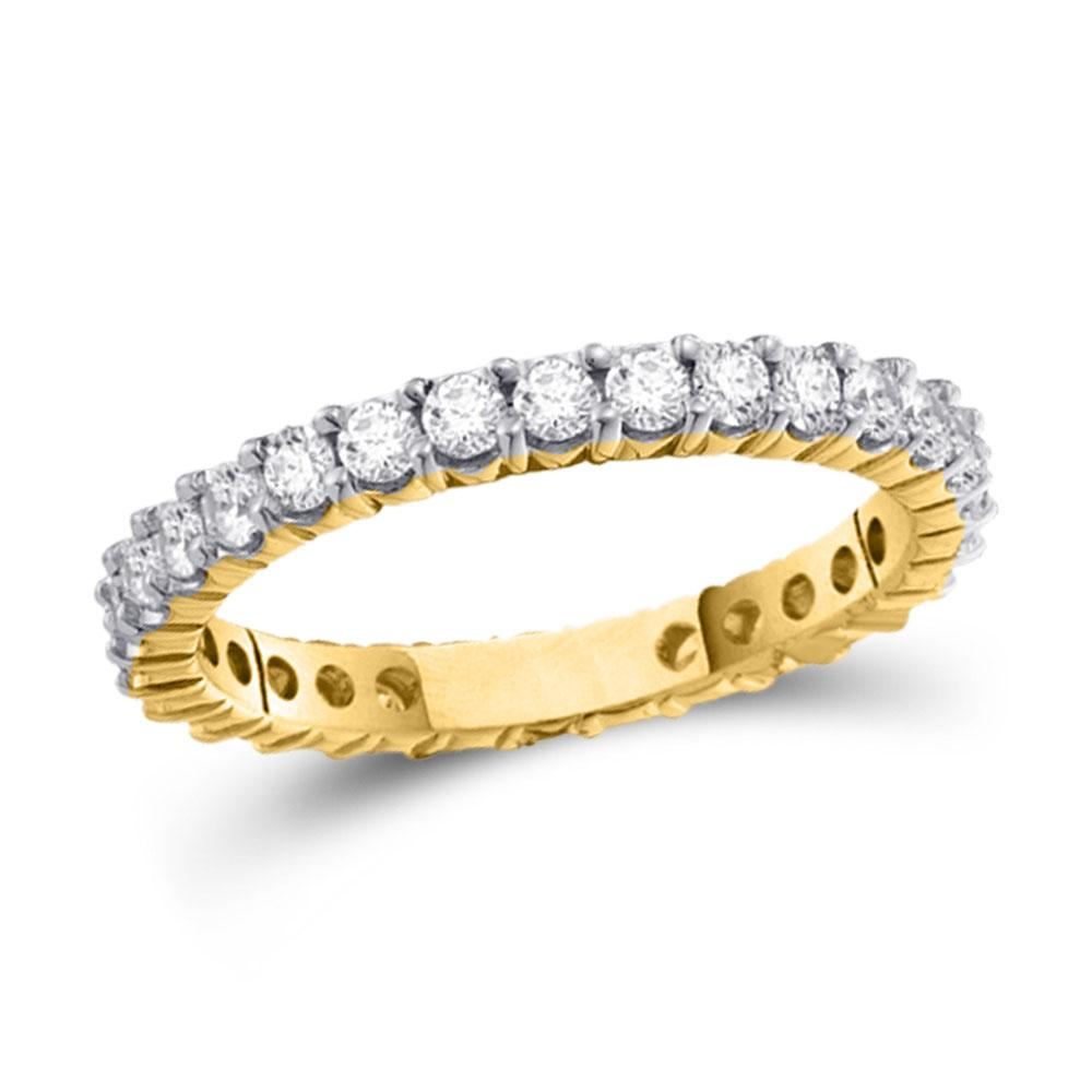 GND Women's Wedding Band 14kt Yellow Gold Womens Round Pave-set Diamond Eternity Wedding Band 1/2 Cttw