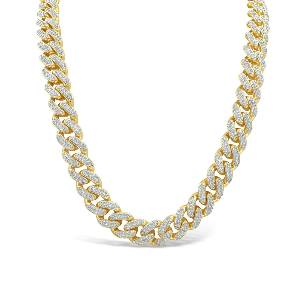 15mm Hallow Cuban Link Chain with Zirconias (CZ) in 14K Yellow Gold