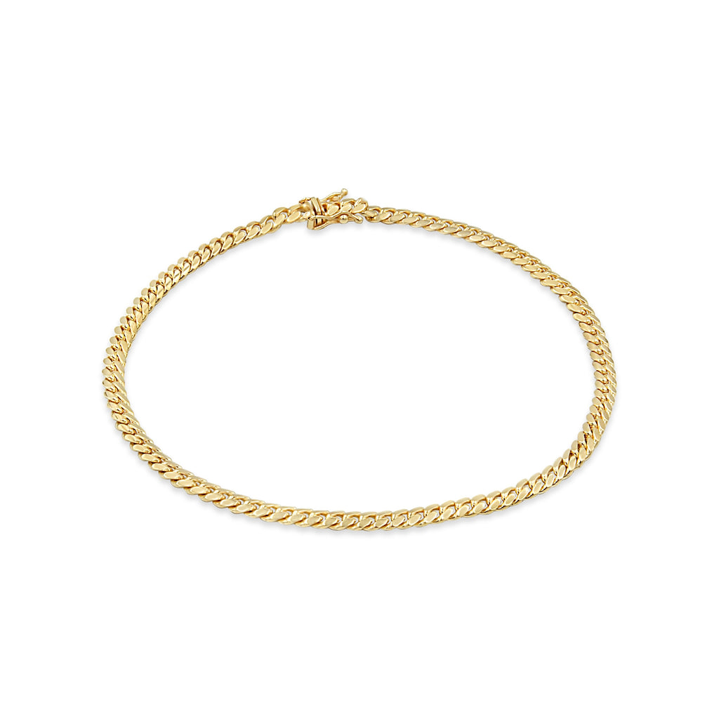 Women's 4mm cuban link Anklet in 10K Gold
