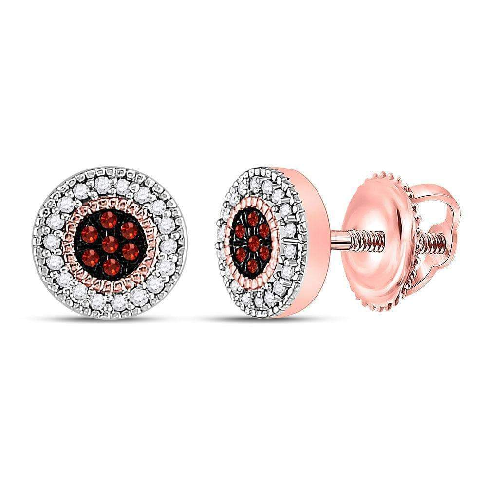 10kt Rose Gold Womens Round Red Color Enhanced Diamond Cluster Earrings 1/8 Cttw