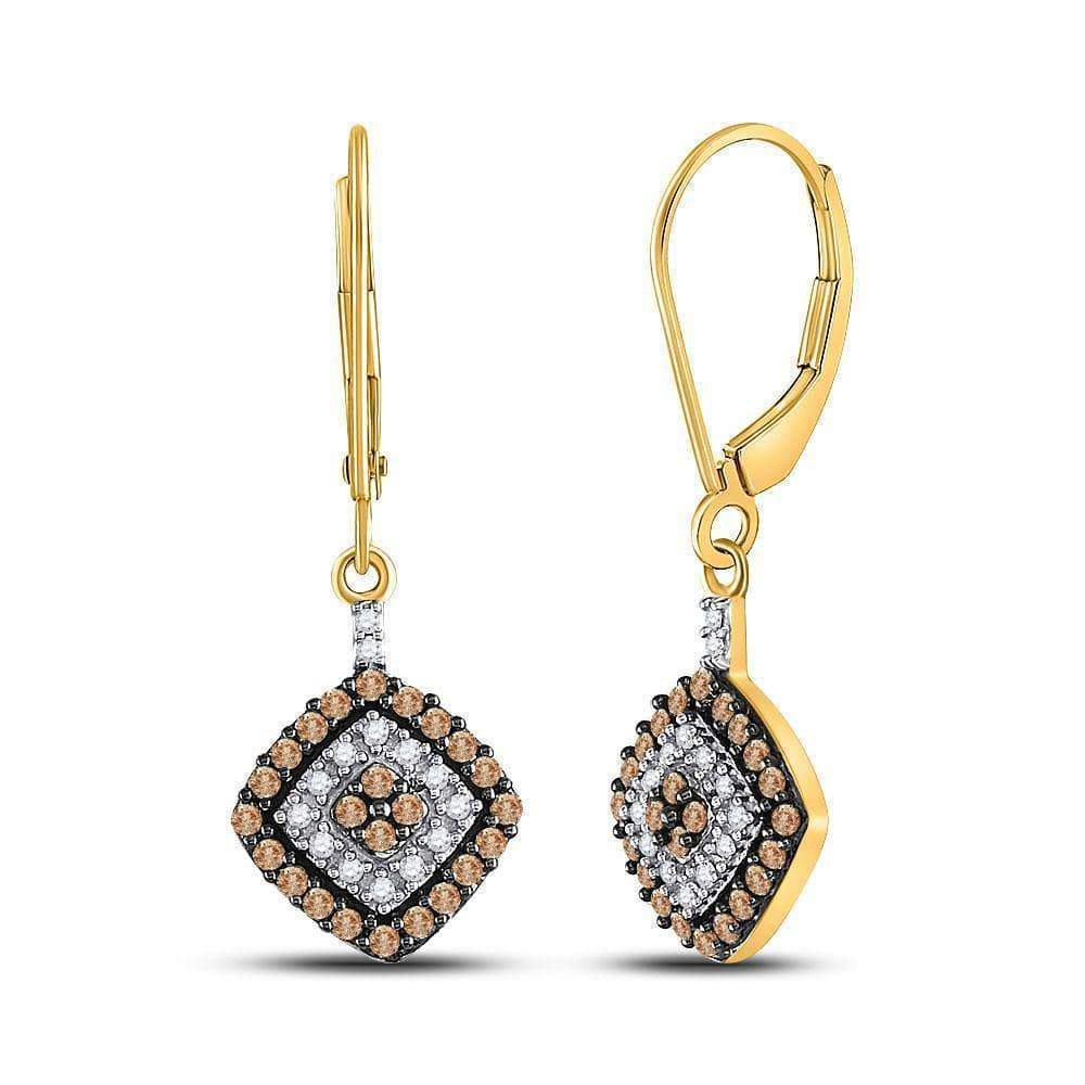 10kt Yellow Gold Womens Round Brown Diamond Square Dangle Earrings 1/2 Cttw