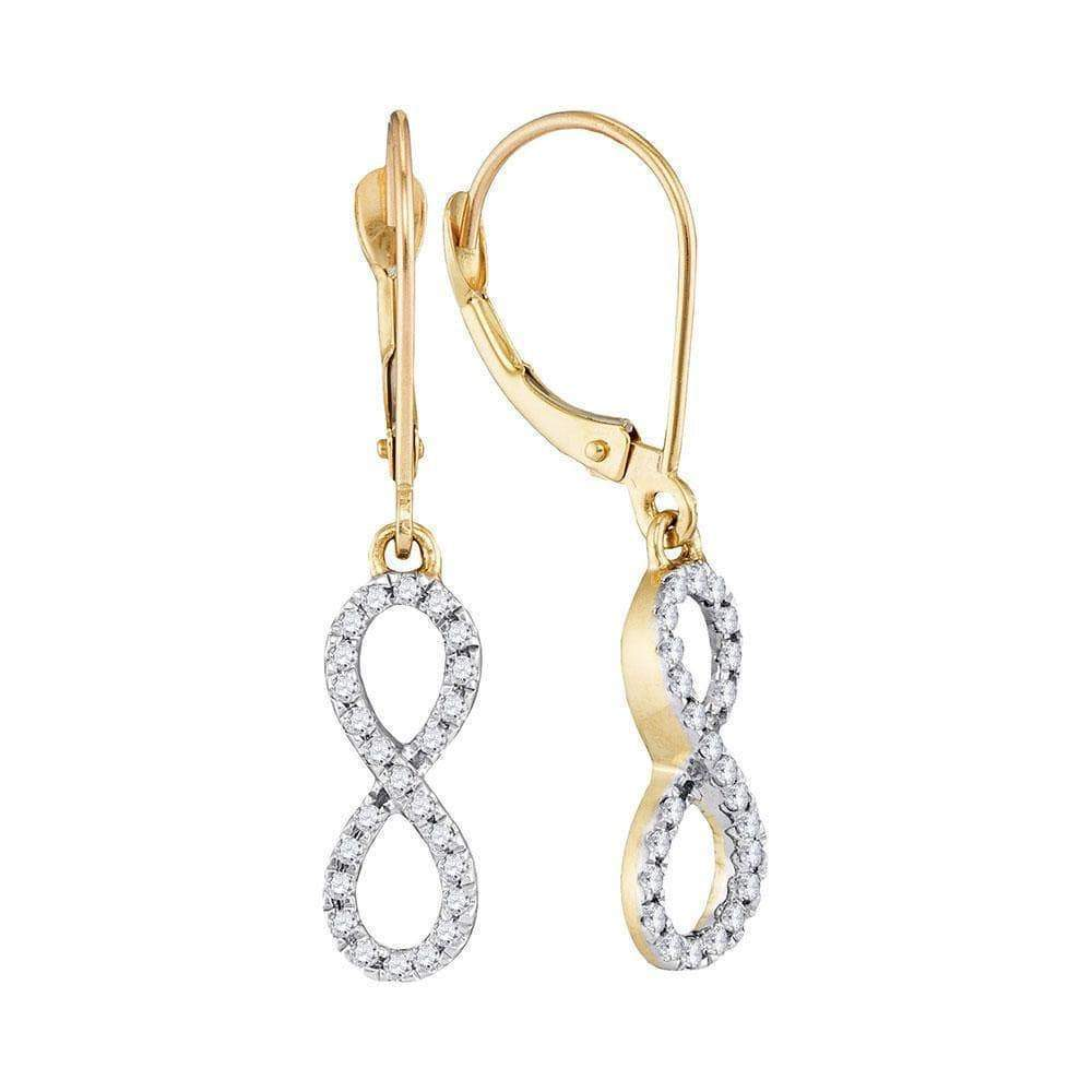 Las Villas Jewelry Diamond Dangle Earring 10kt Yellow Gold Womens Round Diamond Infinity Dangle Earrings 1/4 Cttw