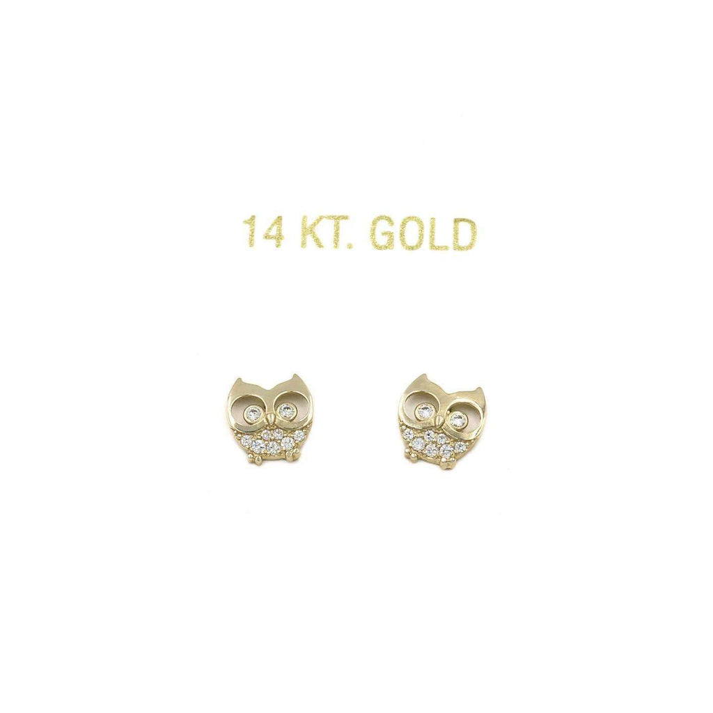 14K Yellow Gold Owl Stud Earrings