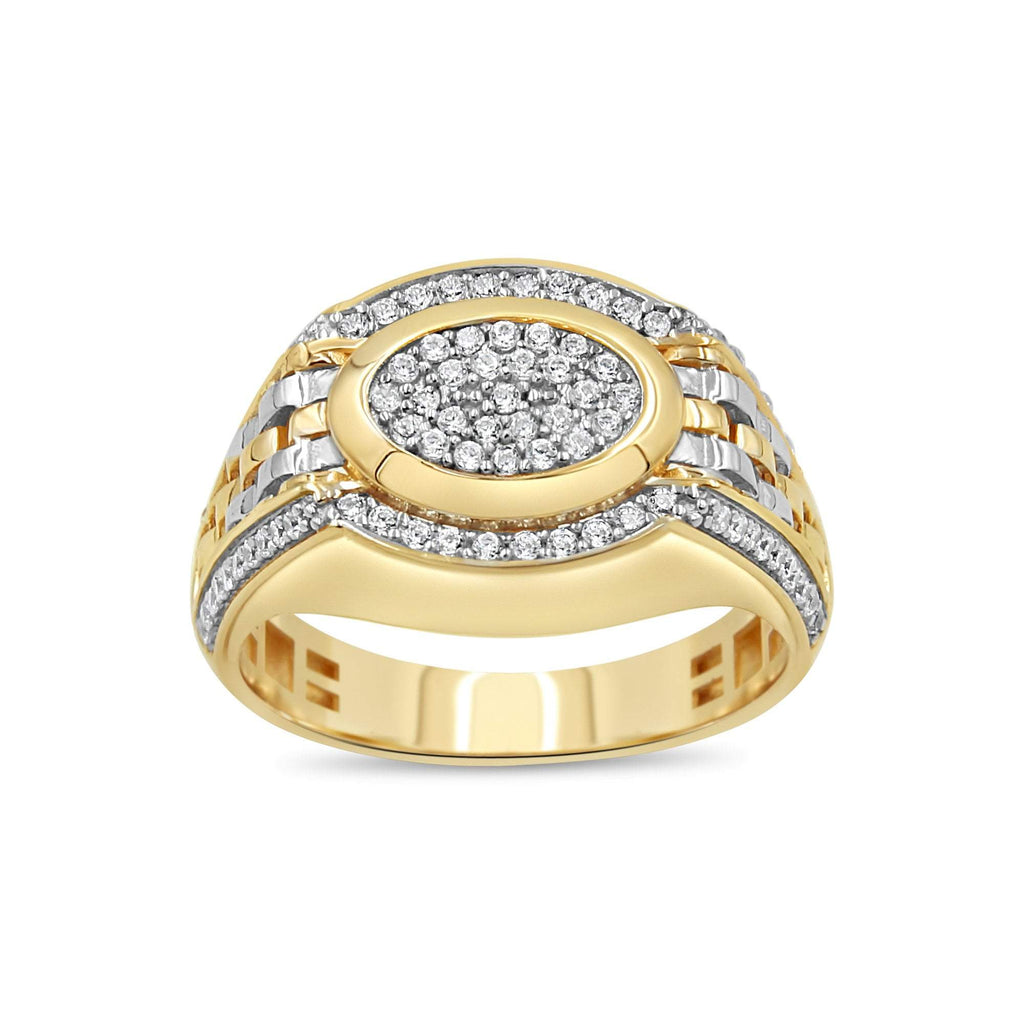 Las Villas Jewelry Men's Big Look Rings Men's Dual tone Pave set ring in 14kt Gold