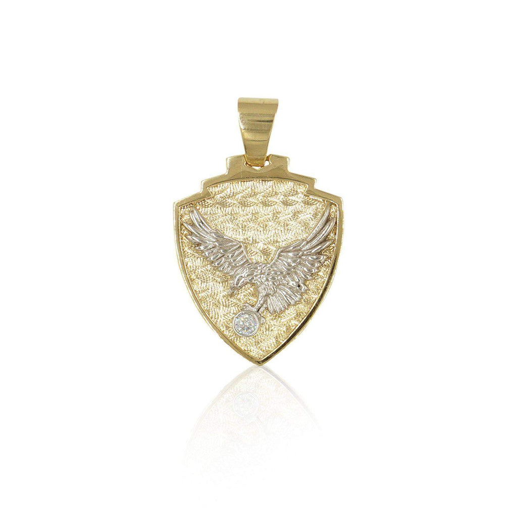 14K Eagle Shield Mens Pendant in Yellow Gold