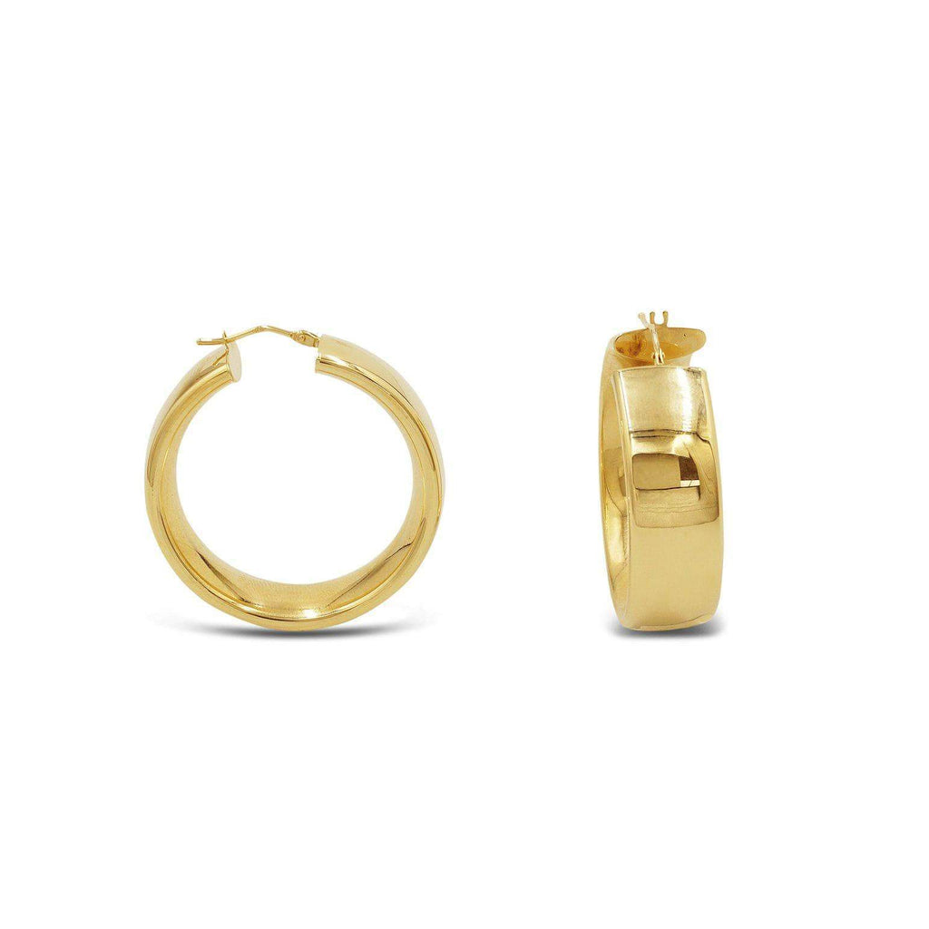 14K Gold snap-bar hollow Polished earrings