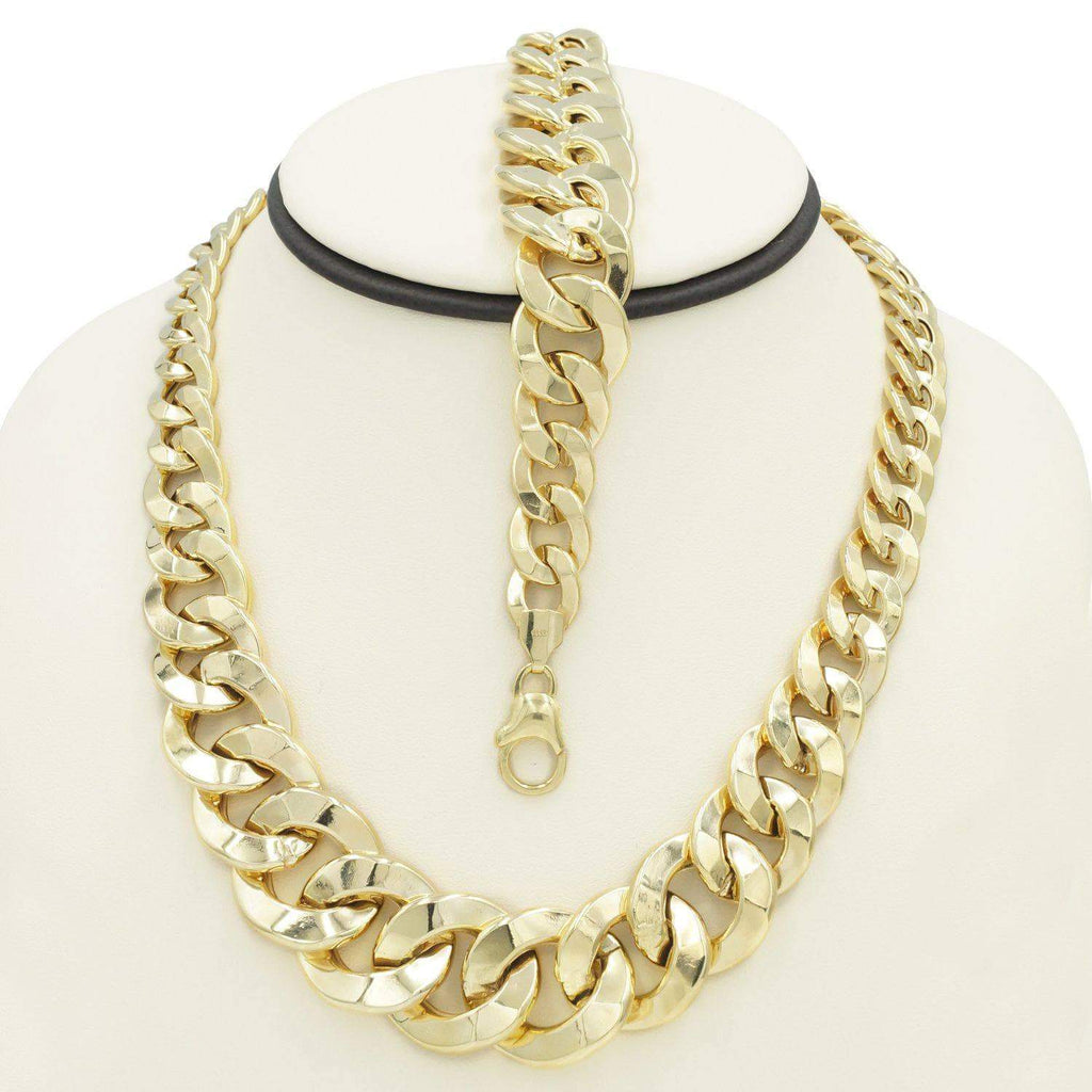 Women's Choker Italian Link Necklace and Bracelet Set in 10K Gold