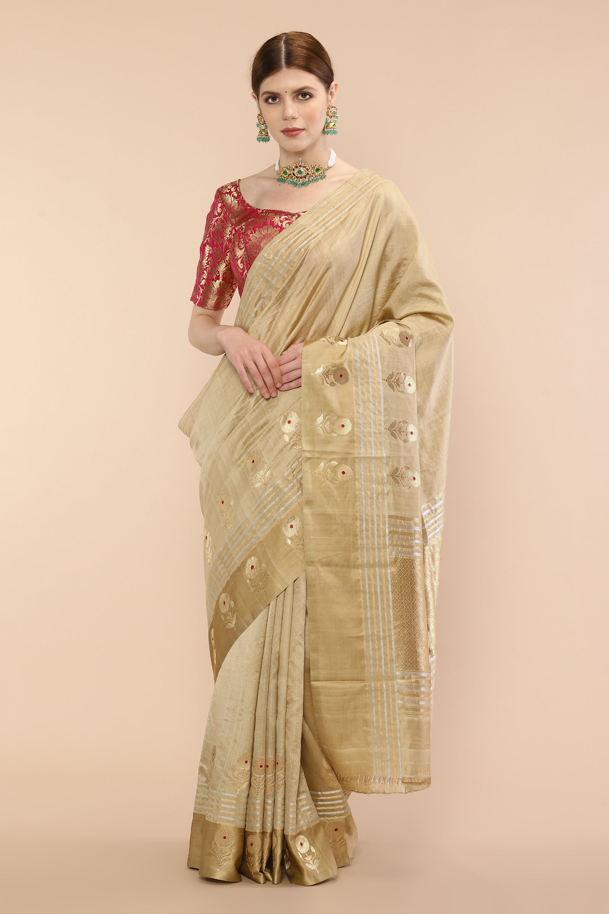 Handwoven Golden Beige Pure Silk Banarasi Saree with floral motifs