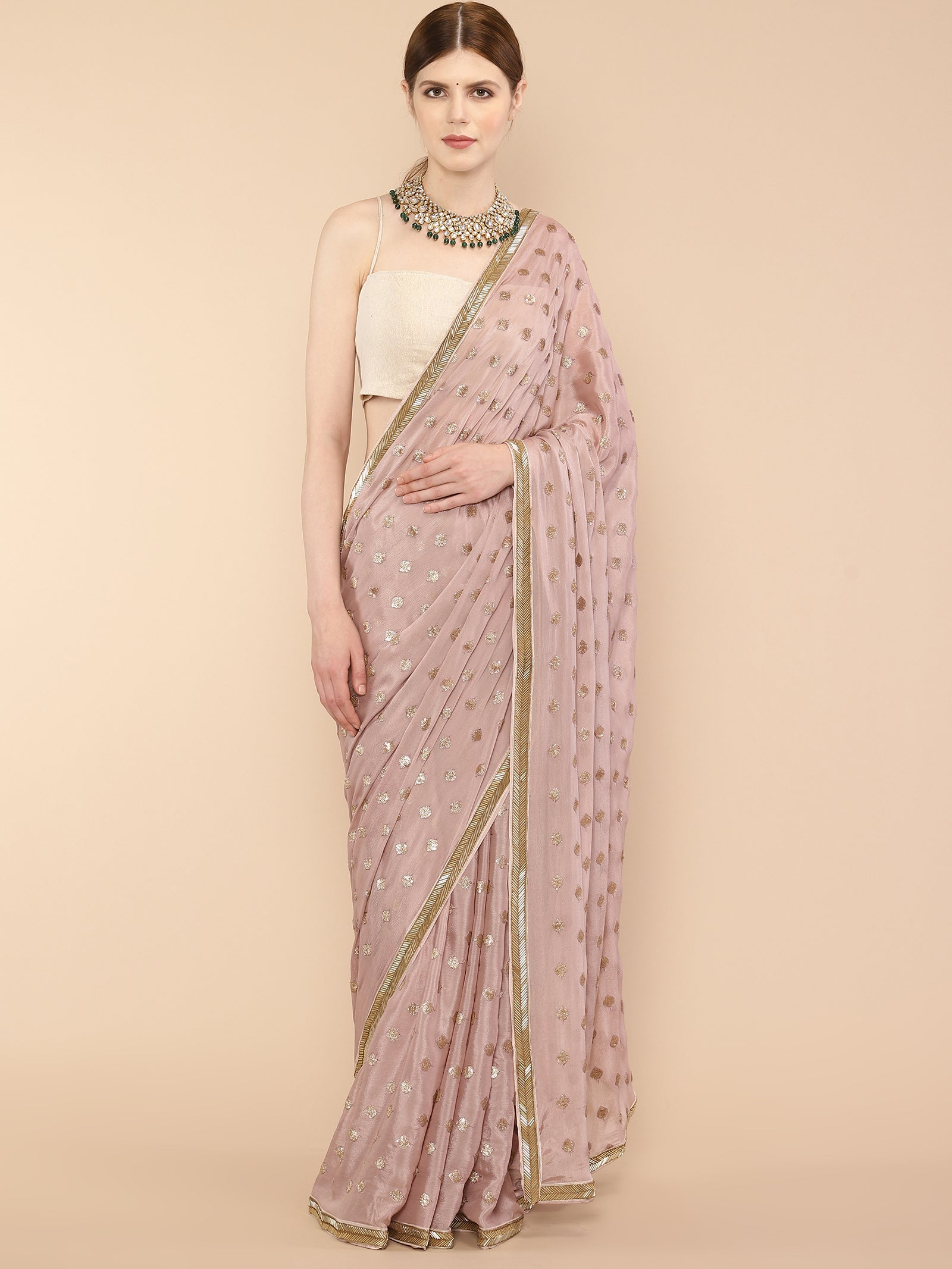 Lilac Embroidered Saree
