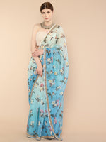 Ombre Blue Floral Pure Organza silk Saree with embroidered border