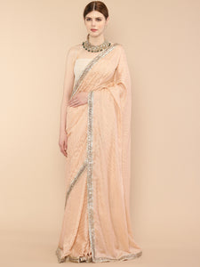 Peach Satin Saree with Embroidered border