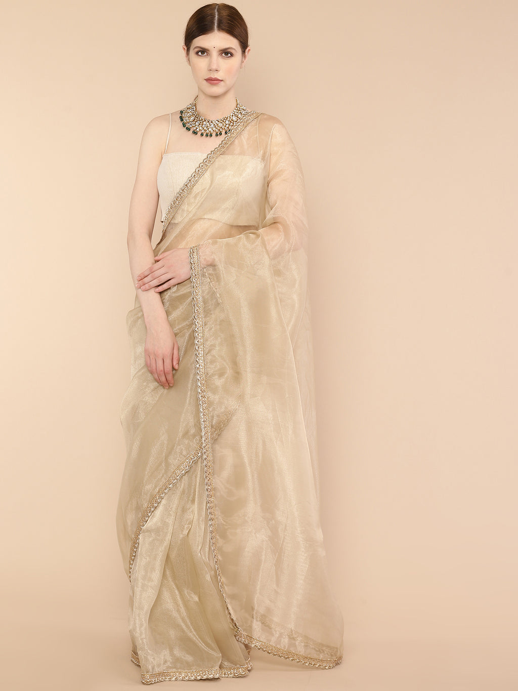 Golden Beige Pure Organza Silk Saree